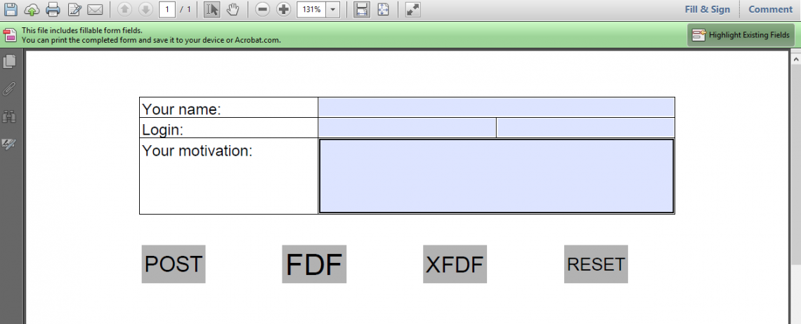 A PDF form shown in a browser