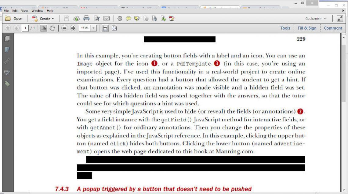 A redacted PDF