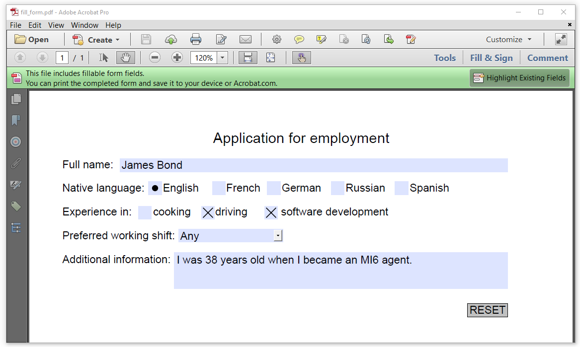 Figure 4.6: a filled-out interactive form