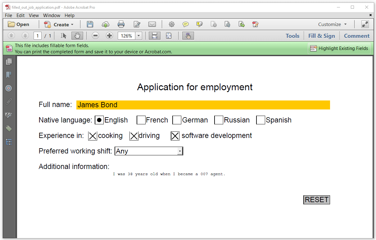 Figure 5.3: updated form, no highlighting