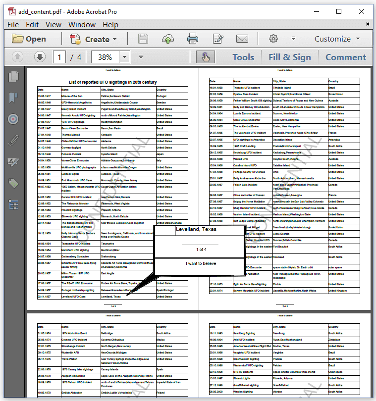 Figure 5.5: UFO sightings report with header, footer, and watermark