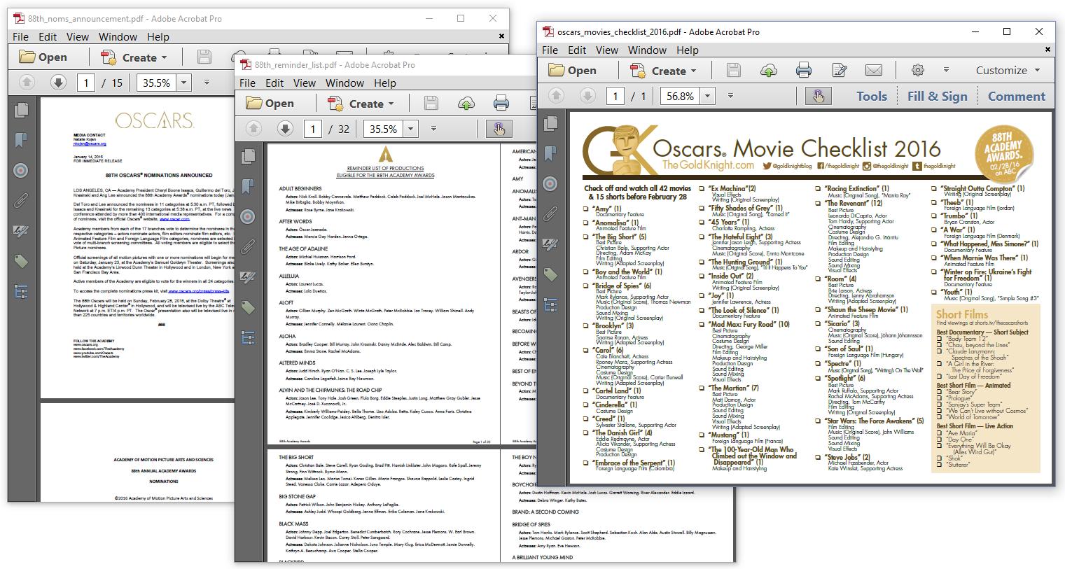 Figure 6.6: The Oscars, source documents