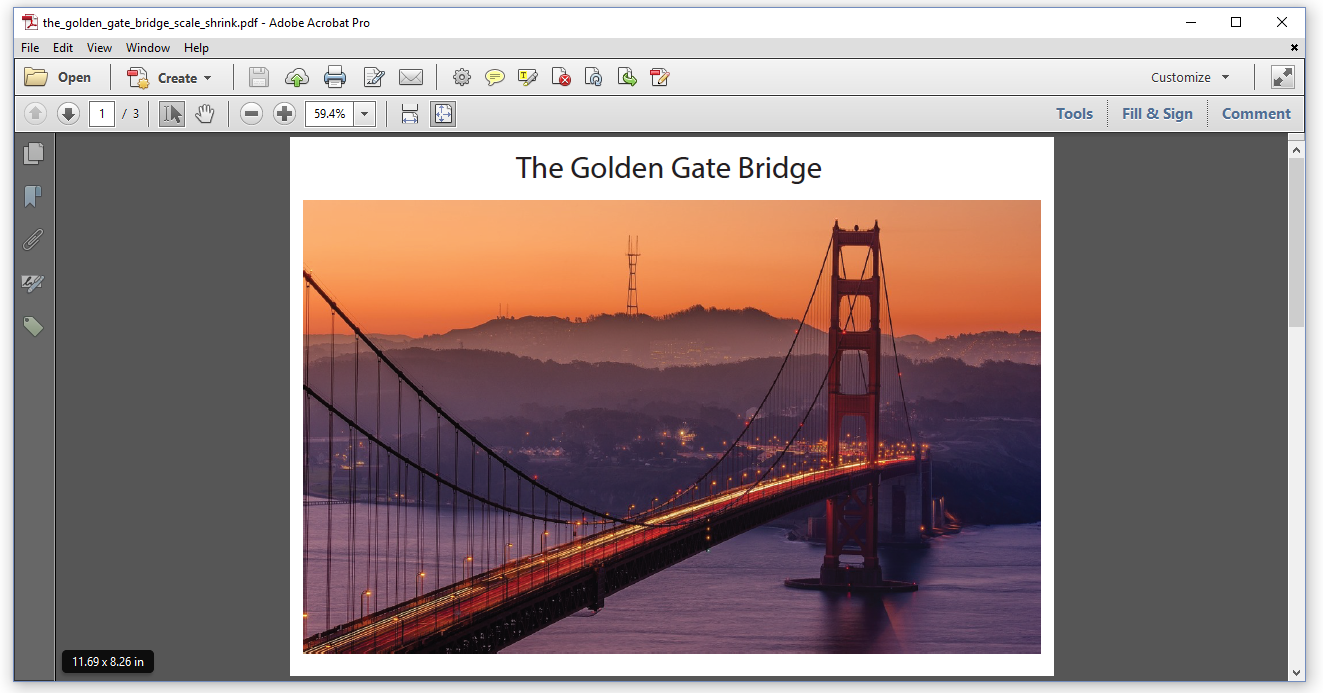 Figure 6.2: Golden Gate Bridge, scaled down to 11.69 x 8.26 in