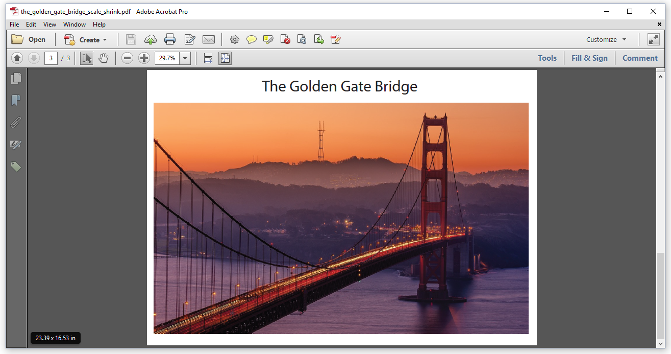 Figure 6.3: Golden Gate Bridge, scaled up to 23.39 x 16.53 in