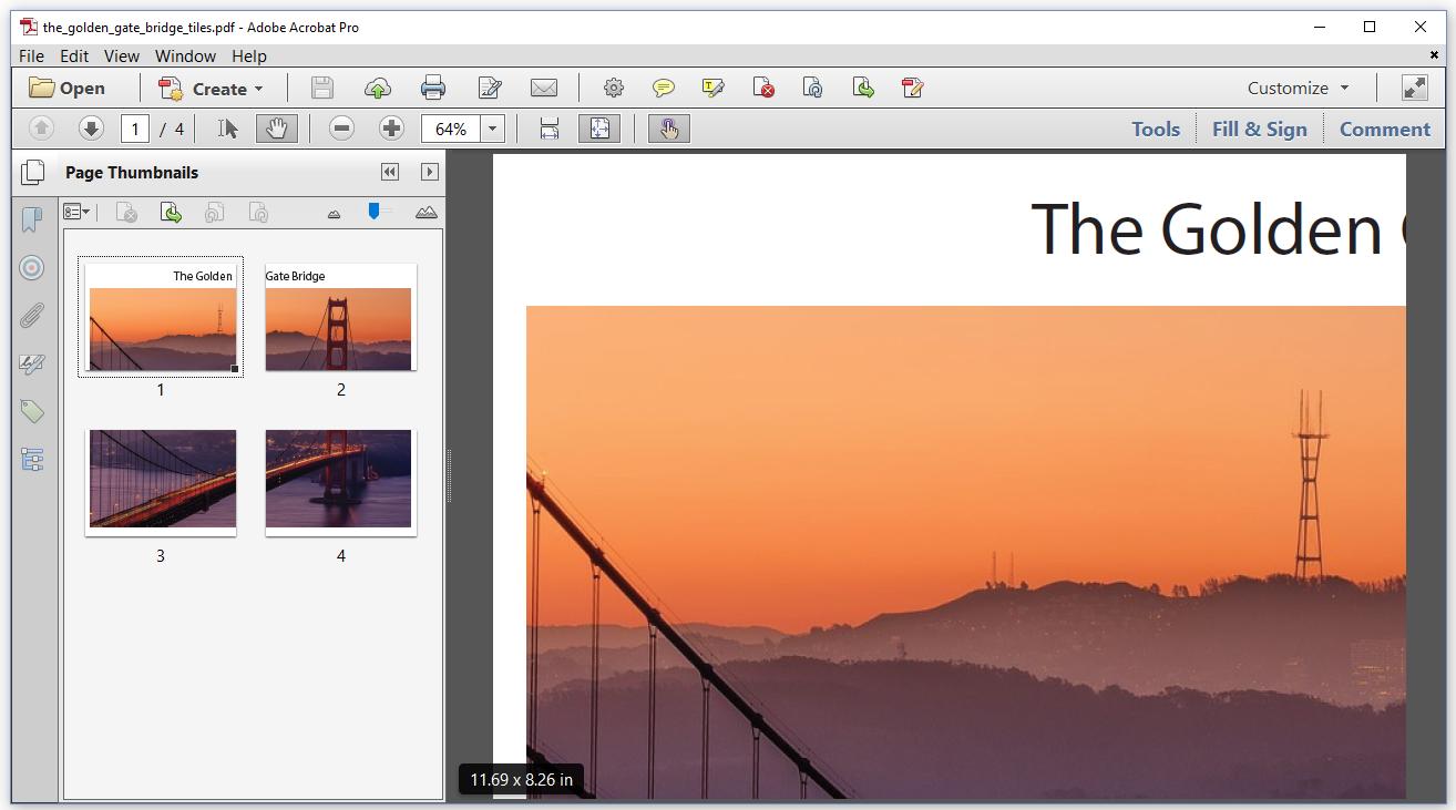 Figure 6.4: Golden Gate Bridge, tiled pages