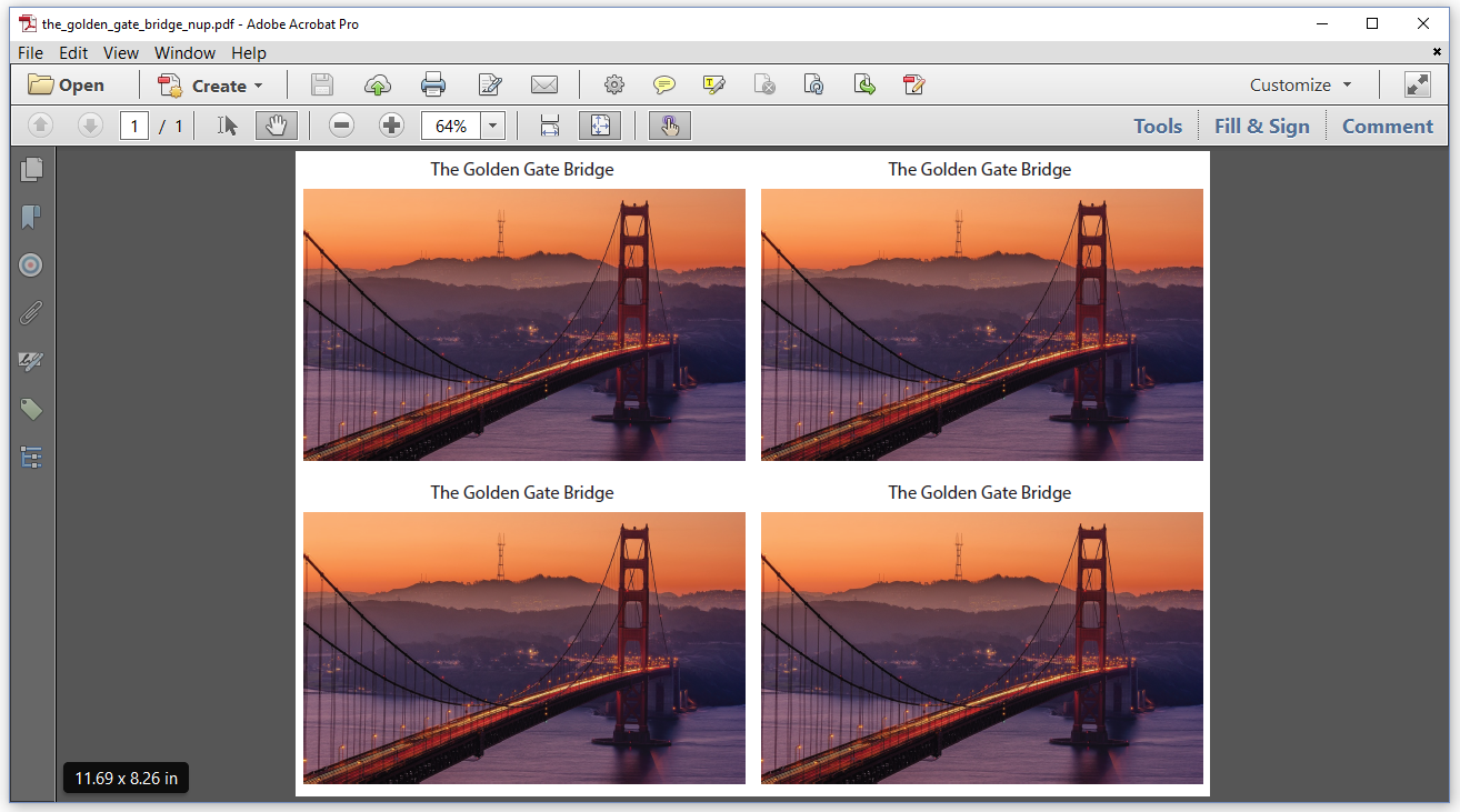 Figure 6.5: Golden Gate Bridge, four pages on one