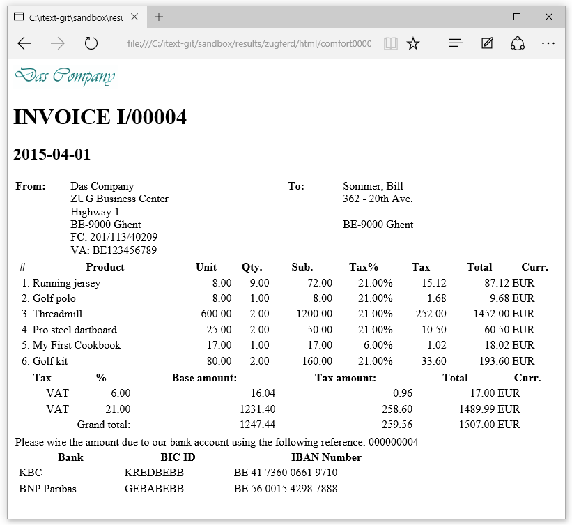 Creating HTML Invoices IText Developers - Html invoice template