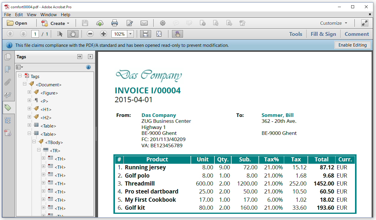 7. creating pdf invoices (comfort) | itext developers, Invoice templates