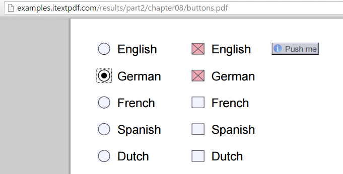 Form with radio buttons and check boxes