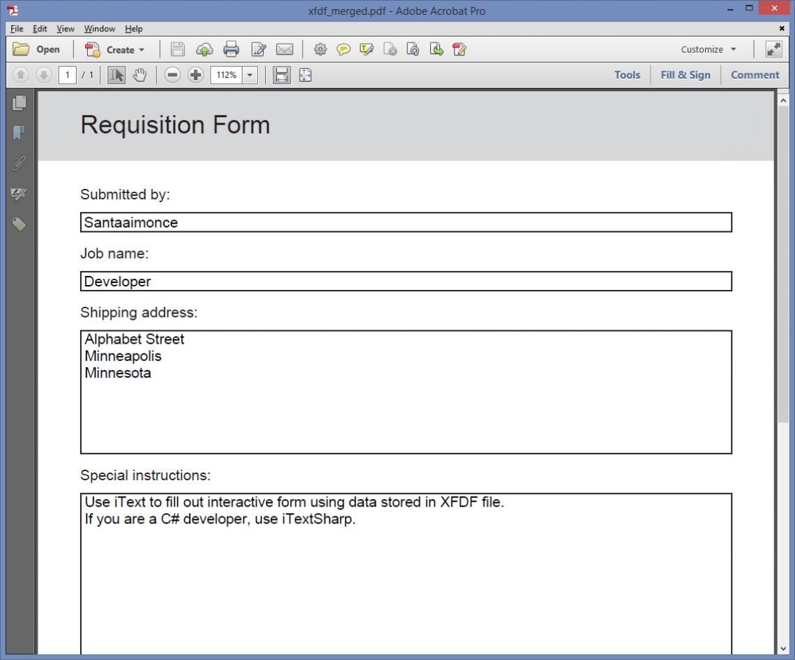 Flattened form data