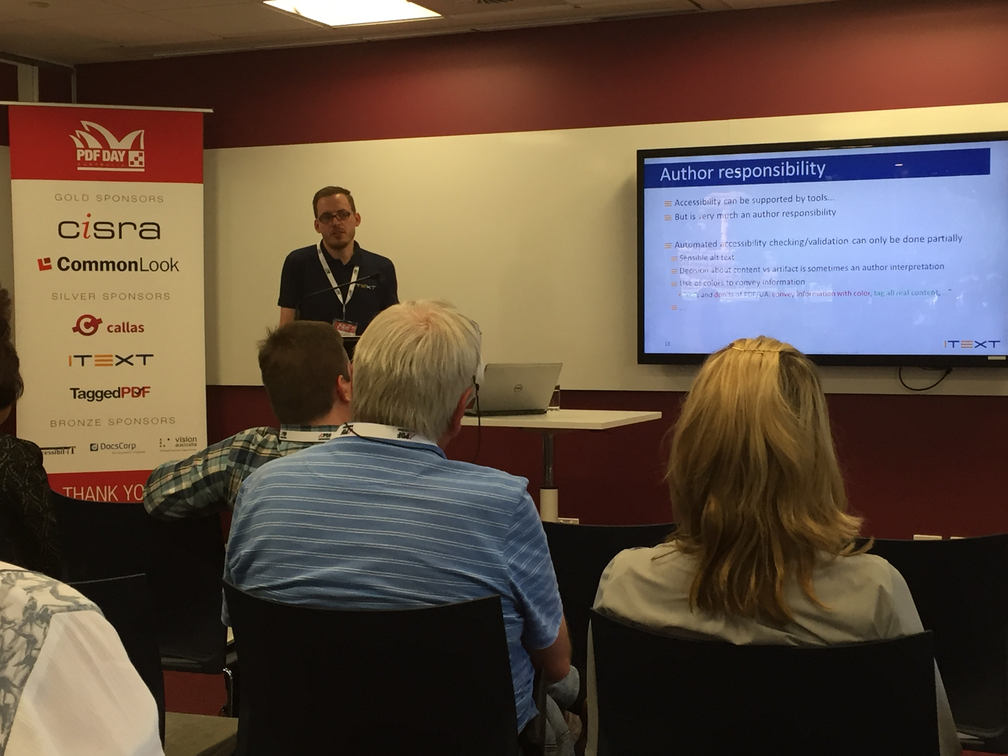PDF/UA Talk at PDF Day Australia by iText's Raf Hens
