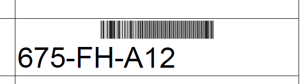Bar code with text below the bars