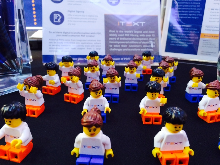 Our minifigs at OSCON London, open source PDF