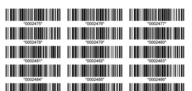 Bar codes in a table