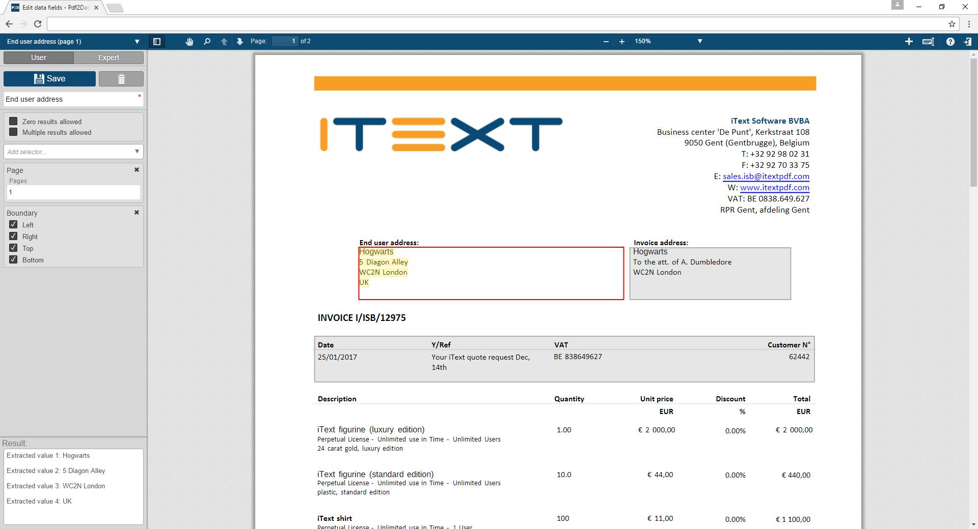 Exemple 1 d'utilisation de pdf2Data