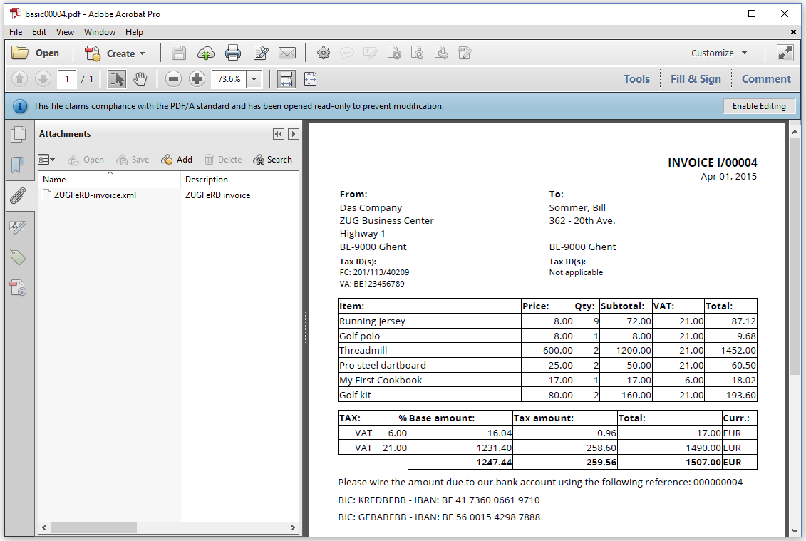 Output result of basic profile pdfInvoice example