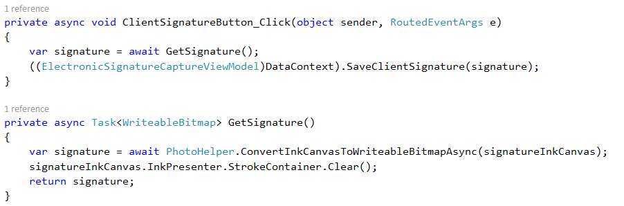 client signature button code