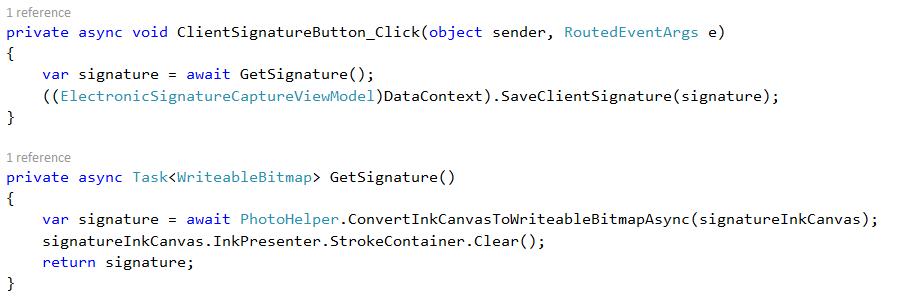 client signature button code
