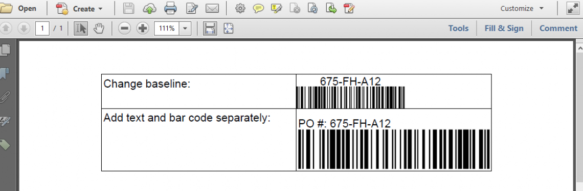 Two ways to add text above the bars in a bar code