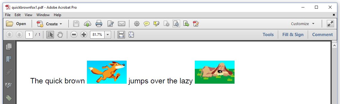Figure 2.1: Quick brown fox jumps over the lazy dog example: regular PDF