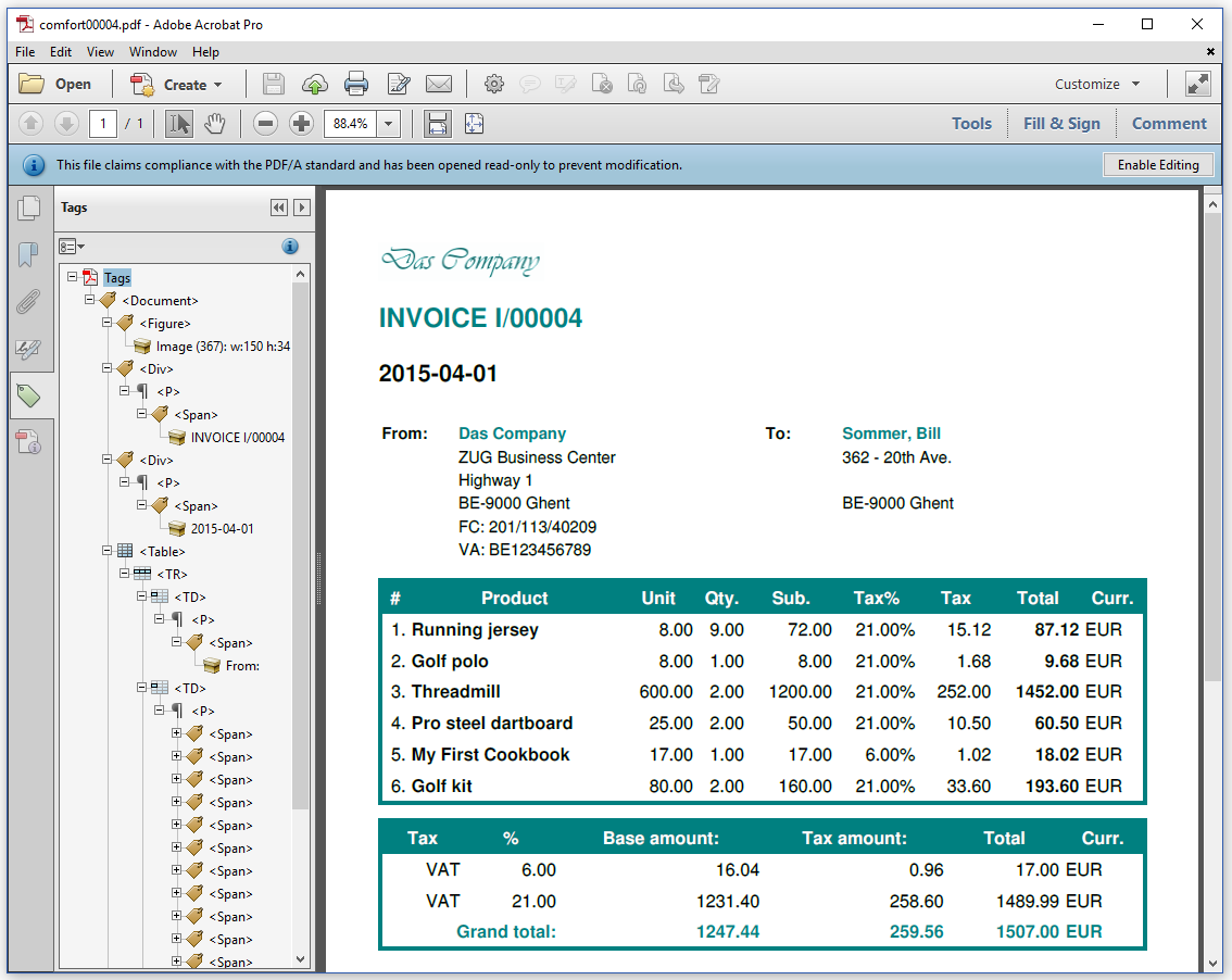 Figure 7.1: a ZUGFeRD invoice created from HTML