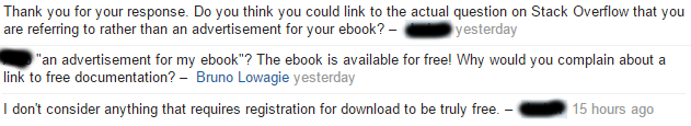 The free ebook is not appreciated
