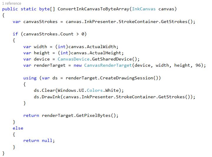 ink canvas byte array code