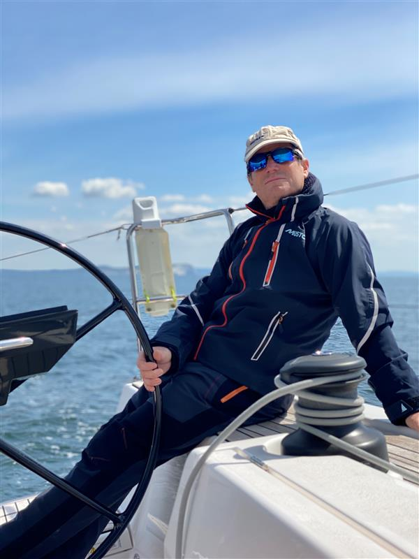 Gary Fry on his sail boat, the Minx