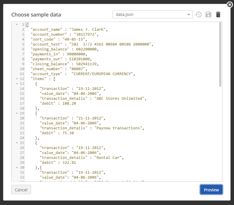A view of the JSON data used by the template