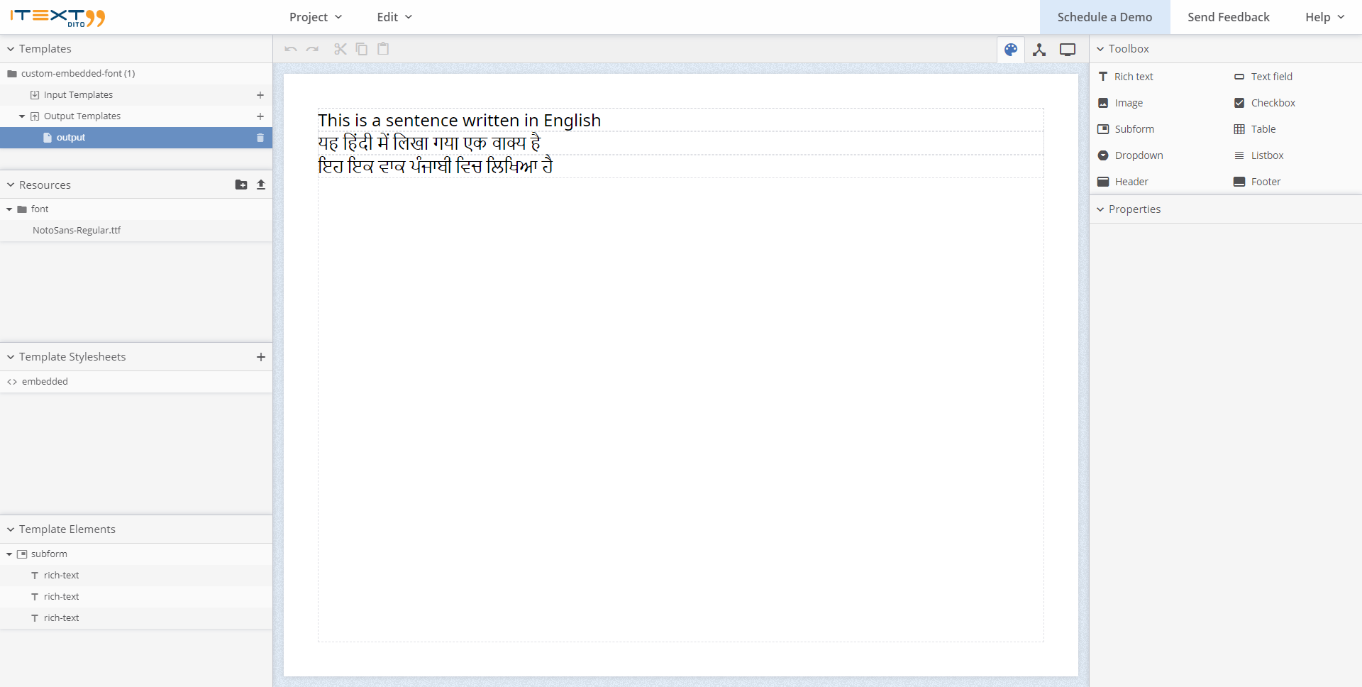 An example of using English, Hindi and Punjabi text in the iText DITO Editor