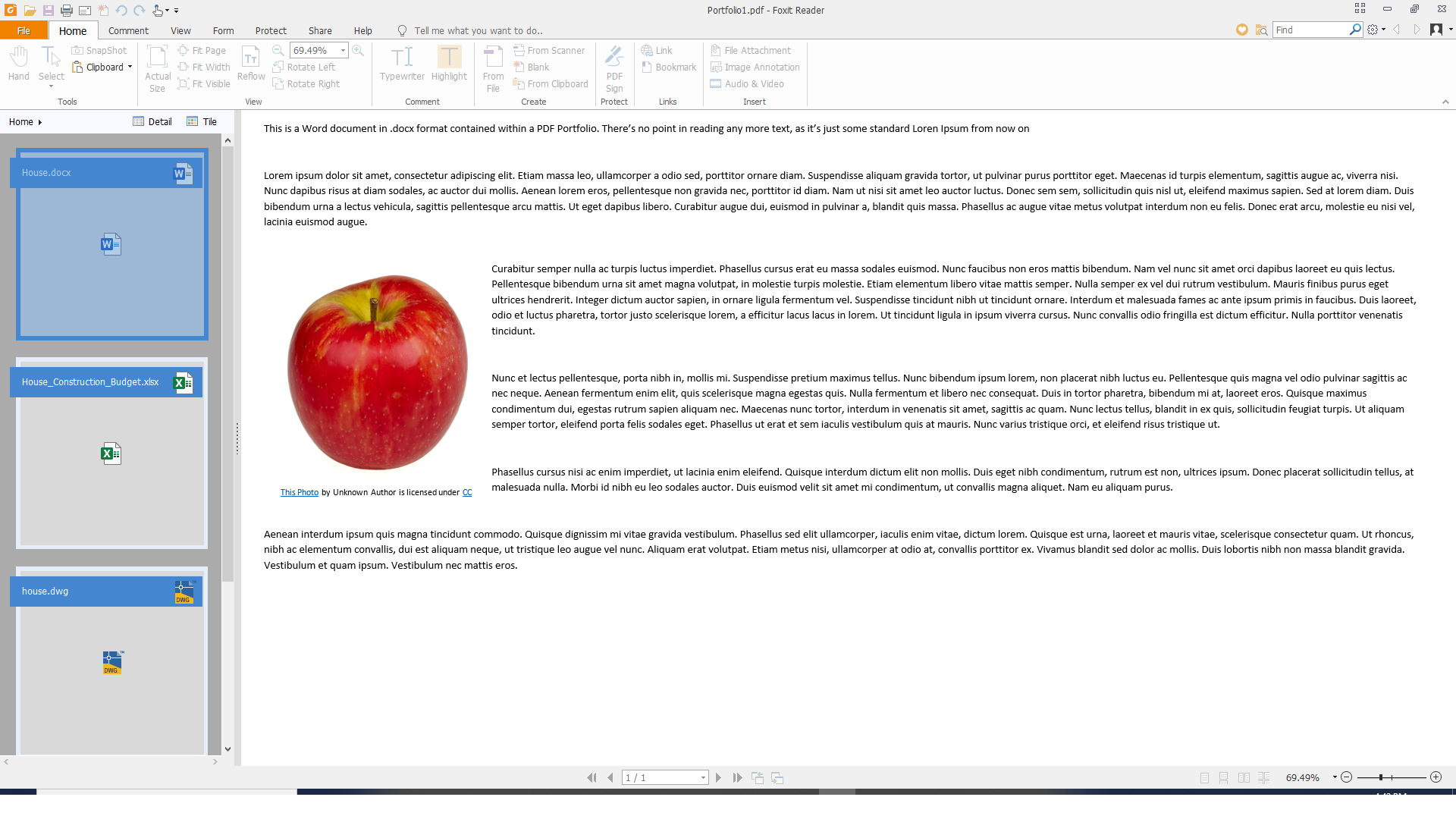 A Word document preview in Foxit Reader