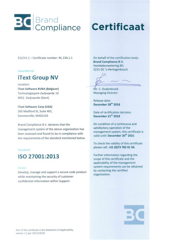iText ISO 27001 Certificate