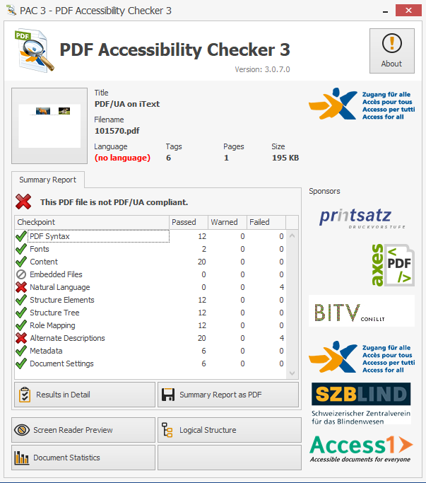 Screenshot showing the PDF missing tags for alternate descriptions and natural language