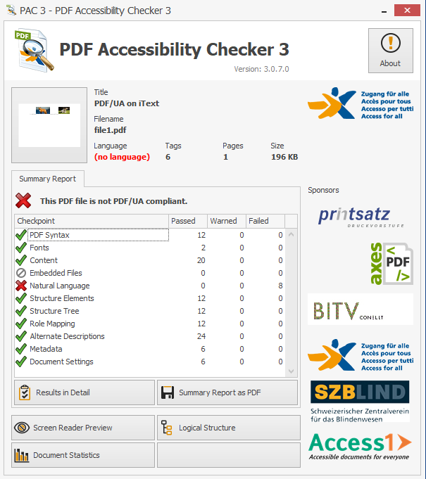 Screenshot of the PDF in the Accessibility Checker showing compliance for alternate image description tags.