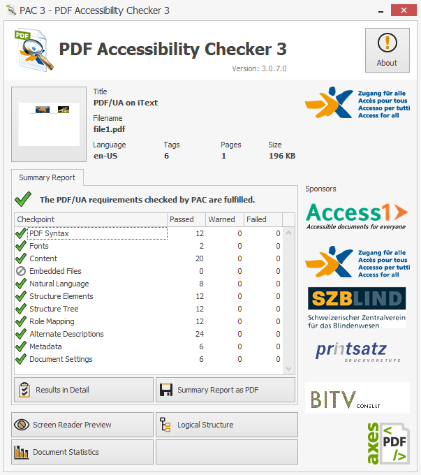 Screenshot showing the language of the PDF has been set.
