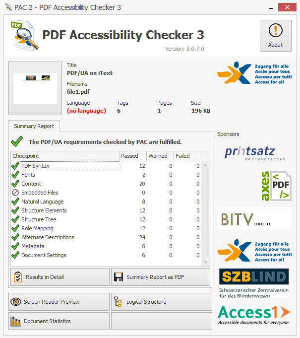 A screenshot showing the PDF is now PDF.UA compliant