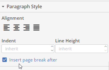 iText DITO page break setting