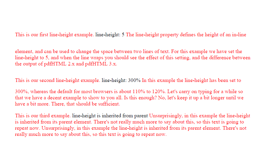 pdfHTML3 line-height example