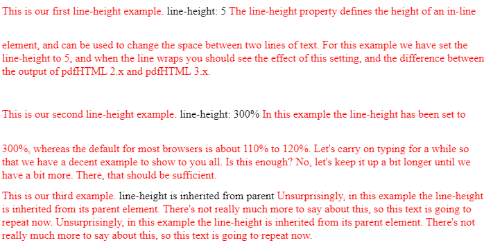 Line-height HTML example