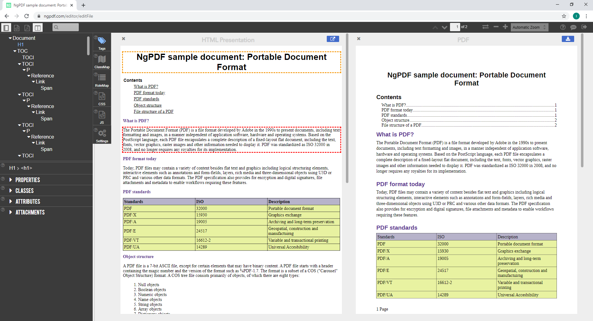 The HTML representation of the example PDF document in the ngPDF application