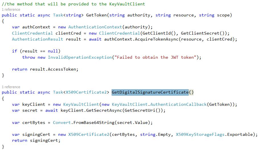 key vault client code
