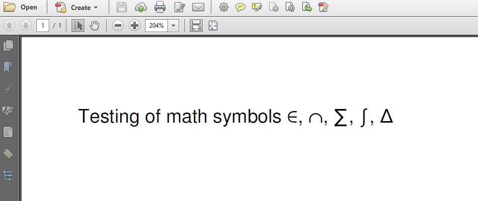 Symbols in a PDF file