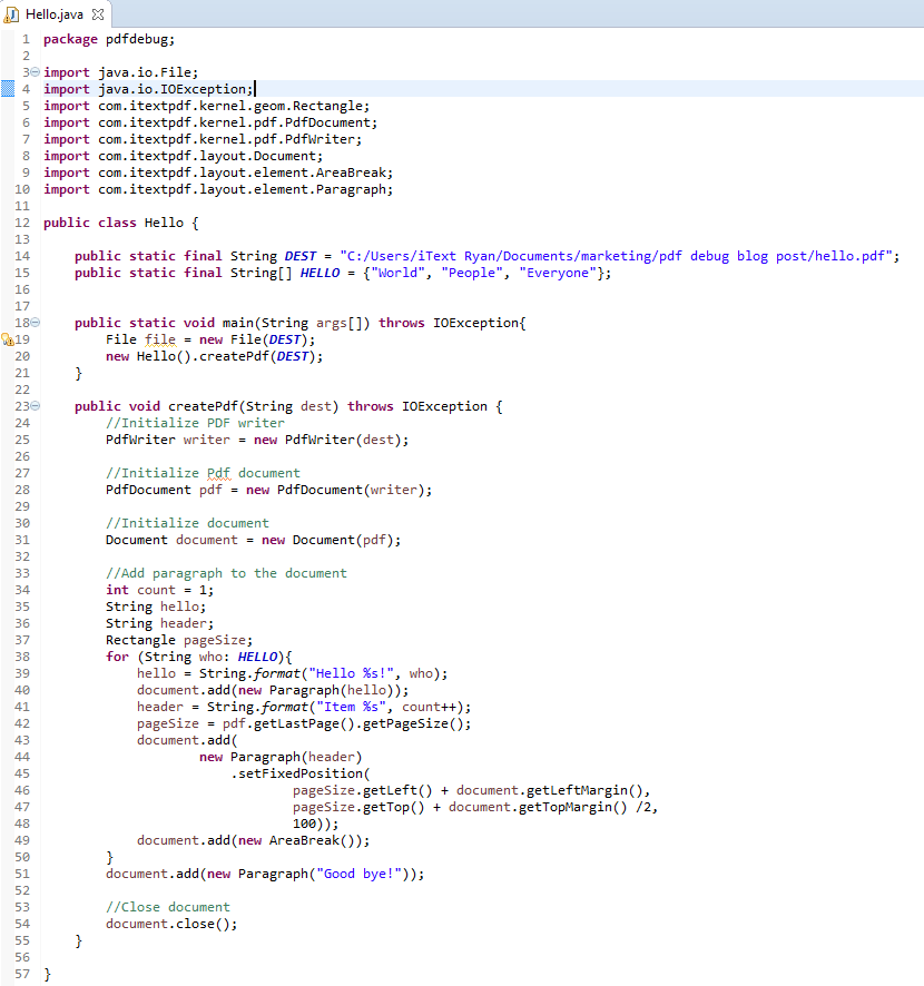 itext xml to pdf example