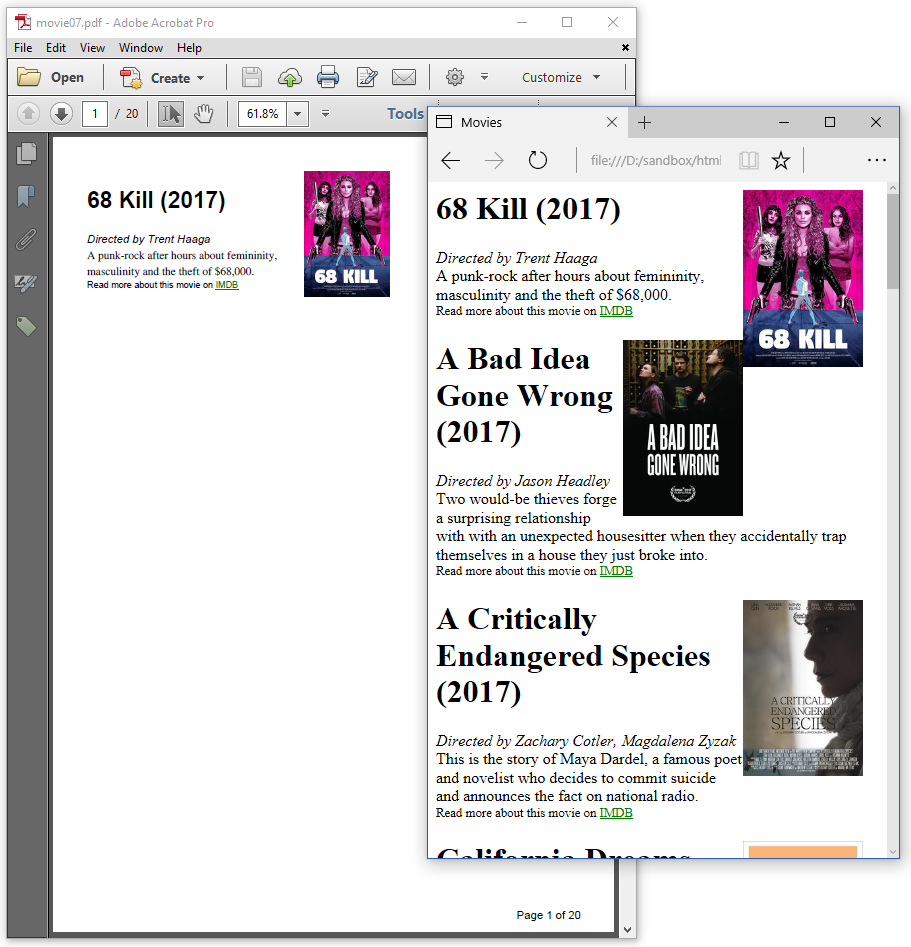 Figure 2.7: HTML page with page breaks