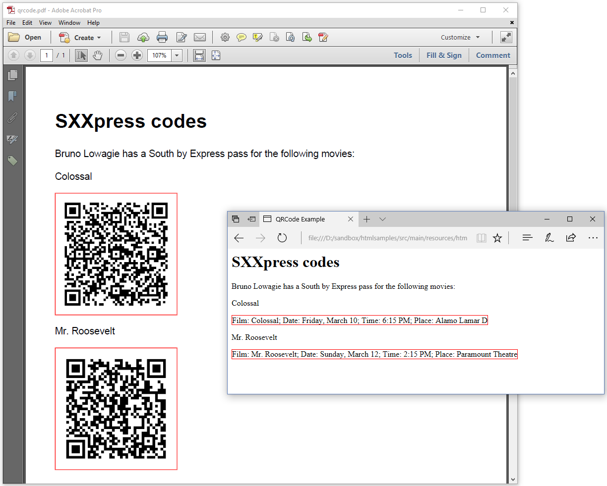 Figure 5.4: Creating QRCodes from HTML