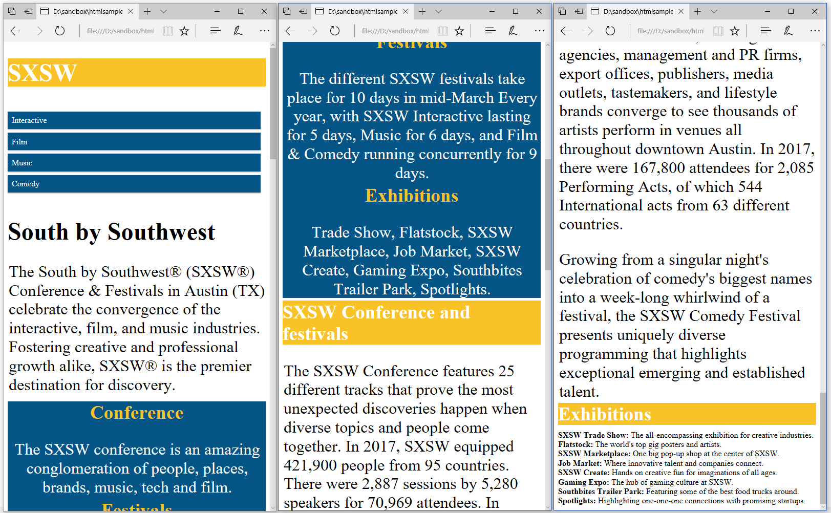 Figure 3.1: An HTML page about SXSW