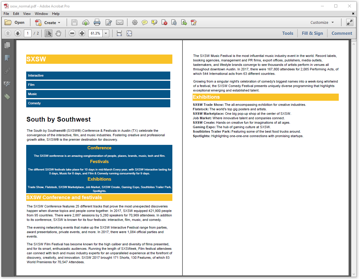 Figure 3.2: the SXSW HTML page as PDF document