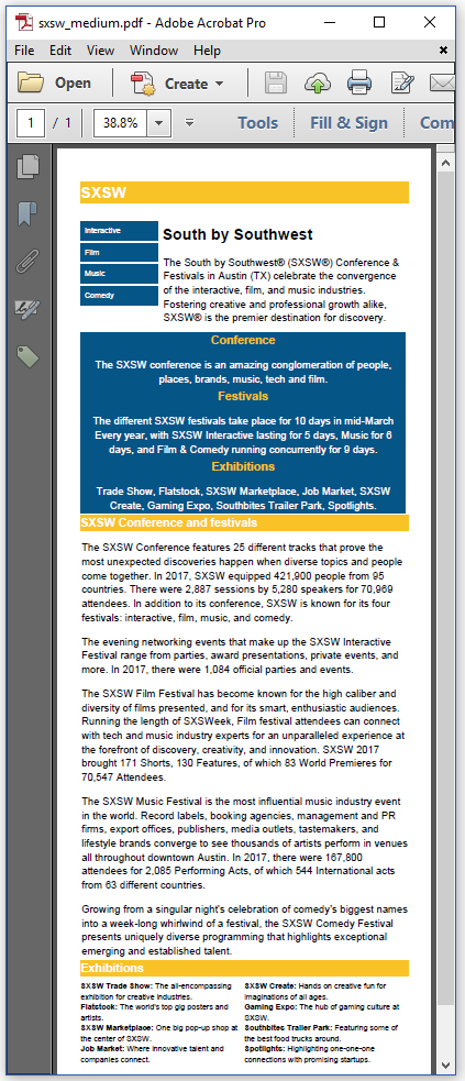 Figure 3.7: the SXSW PDF for a tablet screen