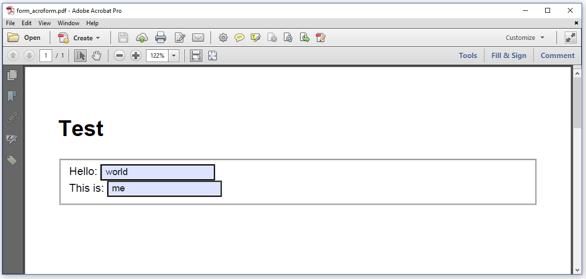 A simple PDF form