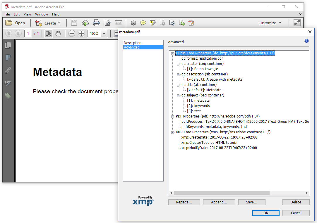 Book page : How to add metadata to a PDF using pdfHTML?